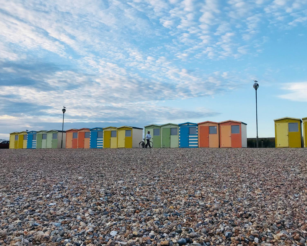 Beach huts at Seaford Beach East Sussex