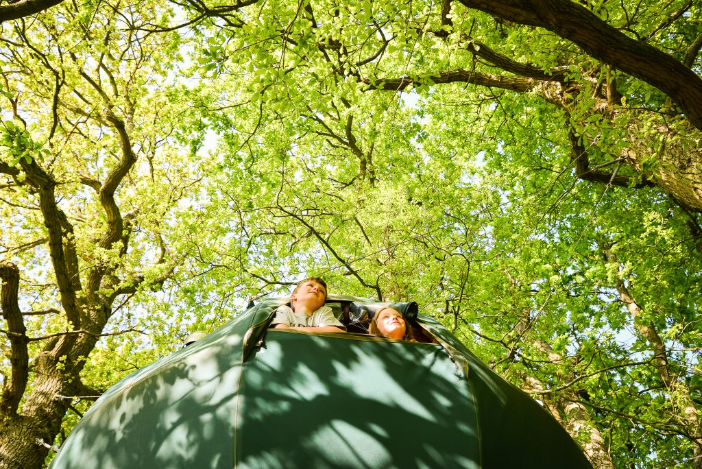 fun in the trees at the secret campsite tree tent