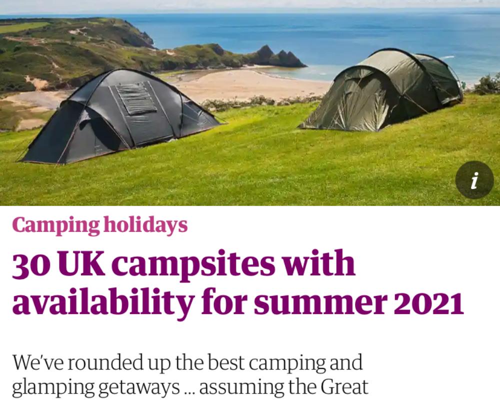 Secret Campsite featured in Guardian newspaper